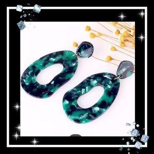 Jewelry - Emerald Green boho acrylic earrings